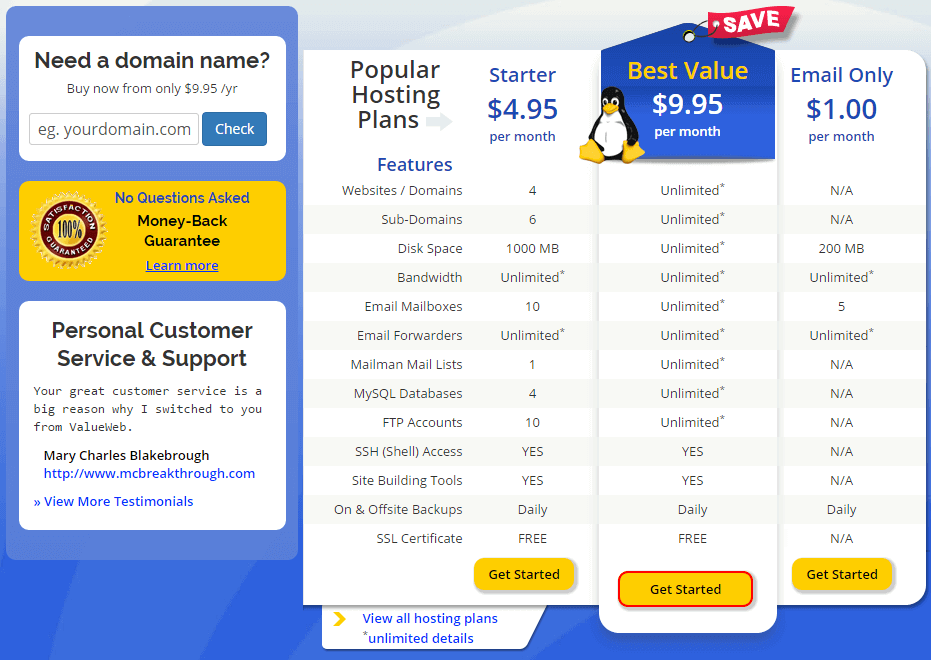 Web Hosting Plans from QTH.com